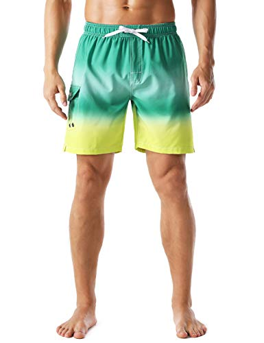 Nonwe Men's Board Shorts Quick Dry Gradient Color Beach Vacation Hawaiian Shorts Drawstring Green-Yellow 32