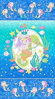 Northcott Cotton Fabric Mermaid Wishes Panel Metallic Glitter 24 X 44 Inches GL21958-44