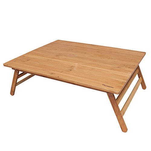 Time Concept Vacances Foldable Bamboo Table - L 20' x W 24' x H 9' - Wooden Picnic Furniture, Portable Dining Use