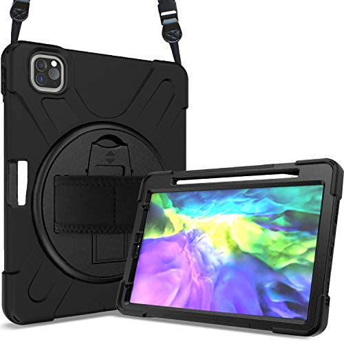 ProCase iPad Pro 11 Inch (2020/2018) Case with Strap Pencil Holder Kickstand, Heavy duty Shockproof Rugged Case Cover, for iPad Pro 11 (1st and 2nd Generation) –Black