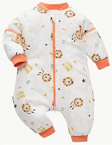 Chilsuessy Schlafsack Baby Winter Schlafsack mit füßen in 2.5 Tog mit abnehmbaren Ärmeln Kinder Ganzjahres Schlafsack mit Beinen Junge Mädchen Schlafanzug, Orange Löwe, 100/Baby Höhe 85-95cm