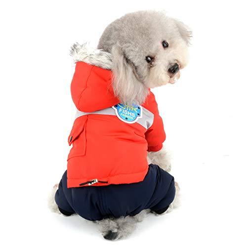 SELMAI Schneeanzug für Hunde wasserdicht Winddicht Daunenjacke Kapuzenpullover Fleece gepolstert Warmer Mantel für kleine Haustiere Welpen Katzen Schneeanzug Kapuze Chihuahua Rot M