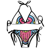 Hamsa Swimsuit for Women,Hippie Boho Hamsa Hand of Fatima with Peace Sign in The Palm Ethnic Asian Art,Bathing Suit Two Piece Sexy Swimsuit,Pink Blue Yellow