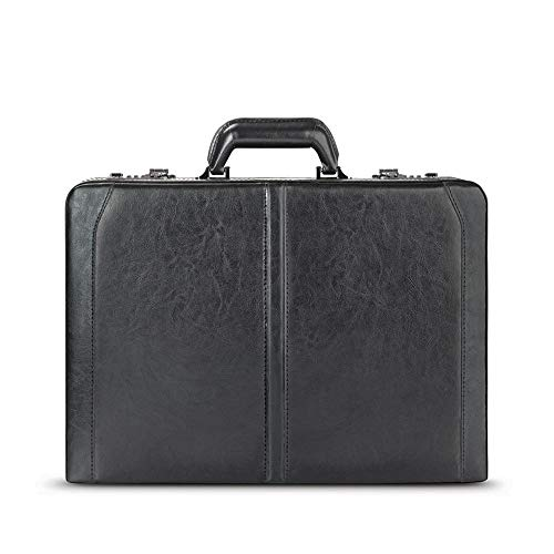 SOLOD 471-4 Premium Leather Attache, Hard-Sided with Combination Locks, Black
