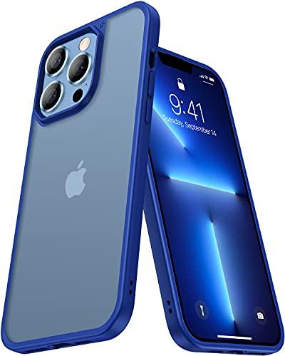 CASEKOO Matt Power Kompatibel mit iPhone 13 Pro Hülle 2021, [SGS-Militärschutz] Stoßfeste Handyhülle (Anti-Fingerabdruck) Kratzfeste rutschfeste Schutzhülle (Slim Dünn) Transluzent 6,1 Zoll - Blau