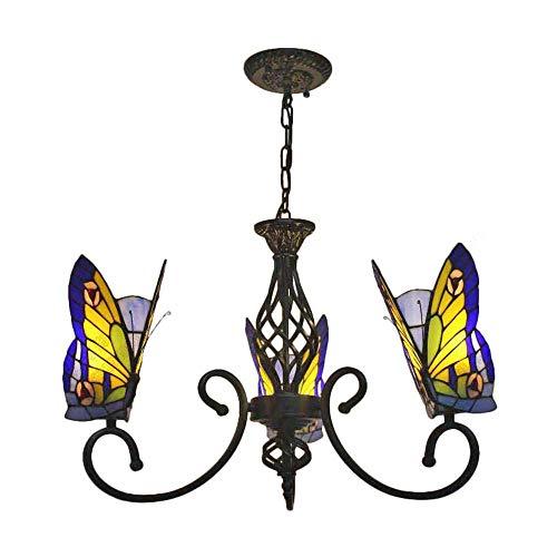 ZSML Stil Glasmalerei Schmetterling Kronleuchter dekorative Hängelampe Pendelleuchte verstellbare Deckenleuchte mit schmiedeeisernen schwarzen Armen 3 Lichter für Wohnzimmer Esszimmer Küche