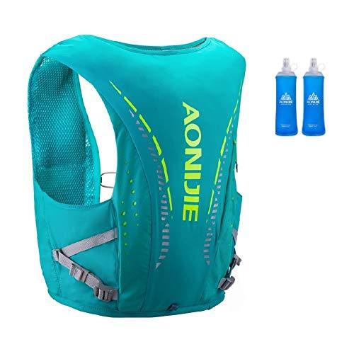 Mochila de hidratación Aonijie ligera y transpirable de 12 l para exteriores, Trail Marathoner Running Cycling Race Hydration Chaleco con vejiga de agua (verde+2 x 450 ml, S/M)