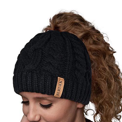 FURTALK Women Hat Knit Skull Beanie Winter Outdoor Runner Messy Bun Ponytail Cap Black