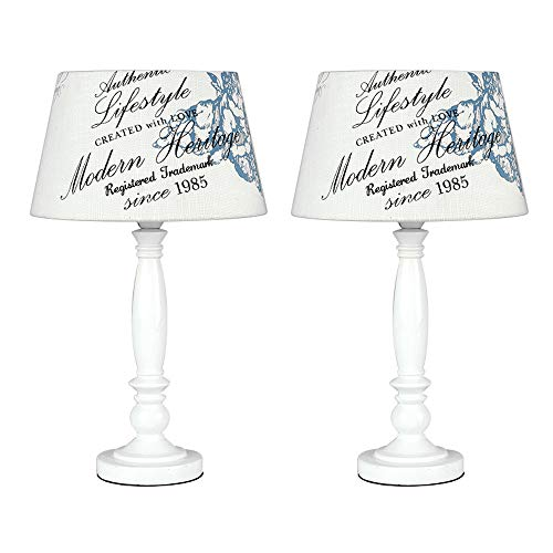 Pair of - Shabby Chic Traditional White Spindle Base and Cream Vintage Blue Floral Cherub and Heritage Text Design Light Shade Table Lamps