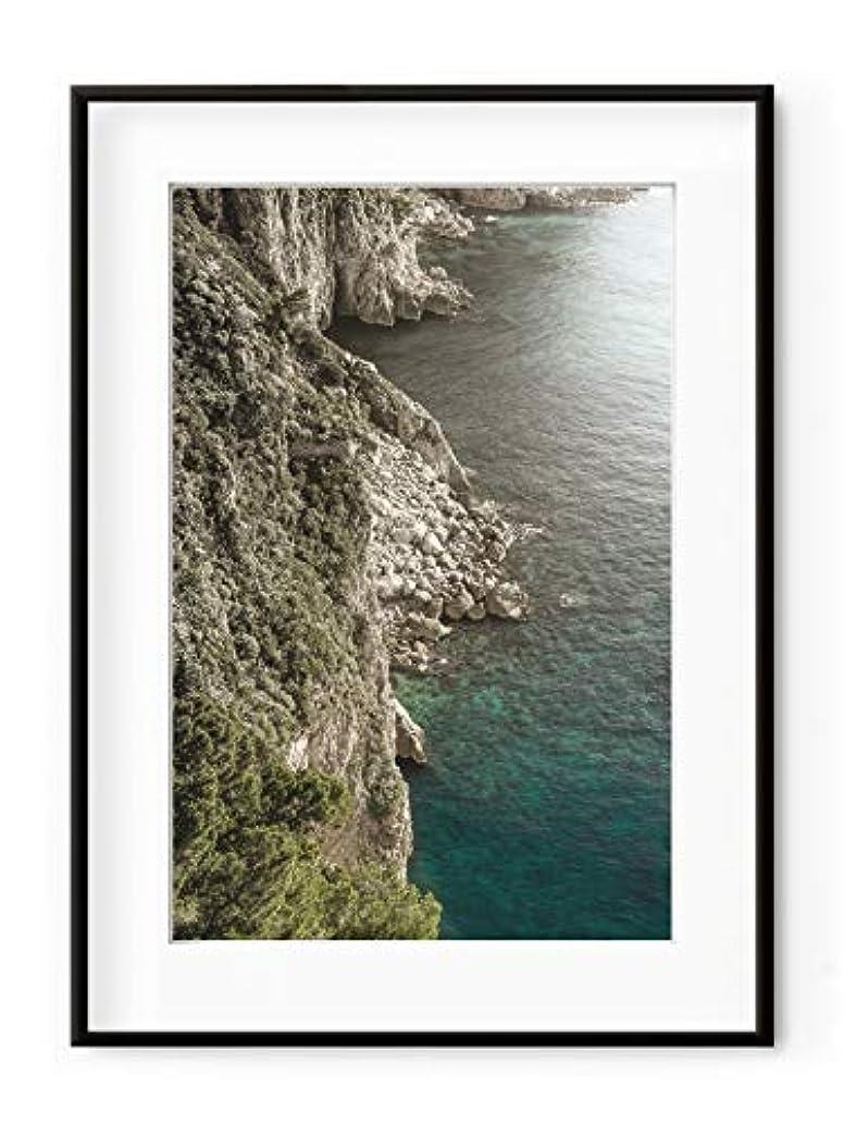 Capri Satin Black Aluminium Frame with Mount, Multicolored, 40x50