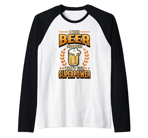 Cerveza barbacoa artesanal brew beber hago la cerveza desaparecer Camiseta Manga Raglan