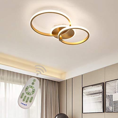 Modern Deckenleuchte Wohnzimmer Küche Decke Lampen Dimmbar mit Fernbedienung, Gold Rund 2-ring Deco Design Metall Acryl-schirm Kronleuchter für Esszimmer Bad Flur Schlafzimmer Büro Leuchte L45*W35cm