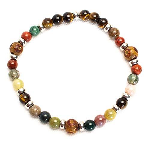 Kimaya Herren-Armband, handgefertigt, Dzi, indischer Achat, Jaspis und Tigerauge, Glücksbringer