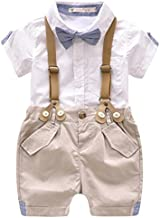 Toddler Baby Boys Gentleman Outfits Short Sleeve T-Shirt+Bib Pants+Bow Tie 3Pcs size 2-3 Years(Tag 100)(White)