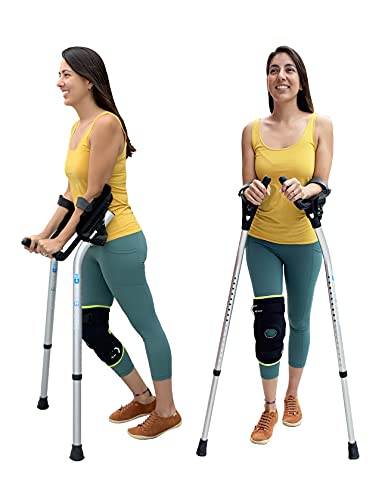 M+D Forearm Crutches Adult, Adjustable Between Platform Crutches & Forearm Crutches - Dual Mode Crutches w/ Heavy Duty Non-Slip Rubber Feet, Dual-Mode Forearm Crutches for Adults