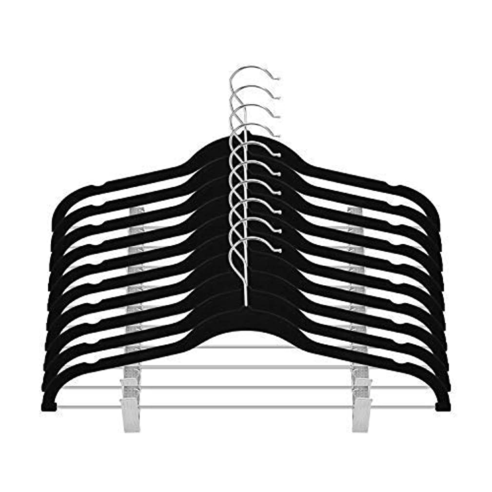OIKA Clothes Hangers with Clips Premium Velvet for Pant or Non Slip Skirt Hanger-360 Degree Swivel Hook-20 Pack (Black)