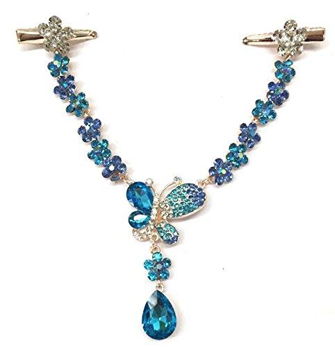 Crystal Diamond cutterfly pelo banda para la cabeza desgaste perla Rhinestone joyería tocado diadema Tiara Cejas Coronal caída frente cadena, Aleación, azul, talla única