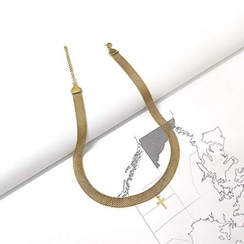 mengnuo Peri\'sBox Weaved Wide Chain Cross Halsketten Textured Titanium Steel Choker Halsketten für Frauen Vintage Halskette