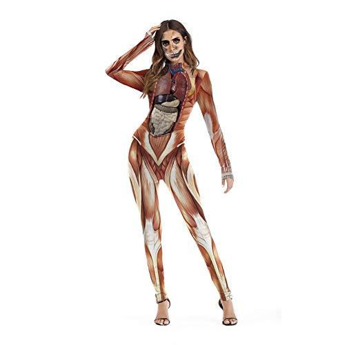 Mujer Escenario Disfraz Cosplay Estructura del Cuerpo Humano Organización Mono Estampado (Marrón, S/M)