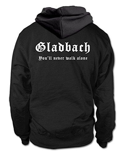 shirtloge Gladbach - You'll Never Walk Alone - Fan Kapuzenpullover - Schwarz (Weiß) - Größe XL