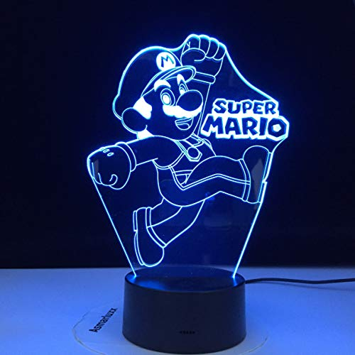 Super Mario Yoshi 3D LED USB luz de dibujos animados juego muñeca lava reloj noche luz regalo