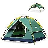 HEWOLF Wurfzelt Automatisches Pop Up Zelt 2-3 Personen Camping Zelt Wasserdicht Familienzelt Leichtes Kuppelzelt Doppelschicht Firstzelte Outdoor Zelte mit Tragetasche Dunkelgrün