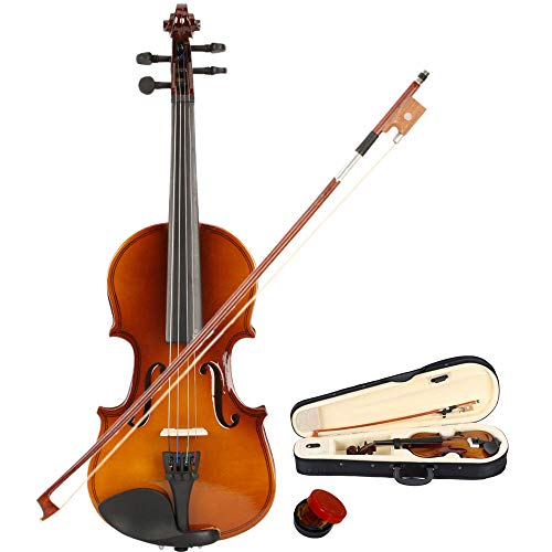 wuddi Acoustic Violin Fiddle Full Size with Bow Case Rosin for Beginner Adult Boys Girls Children (1/8 Brown)