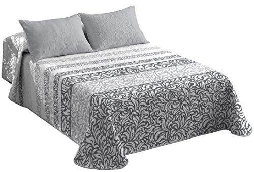 Premium Quality Reversible Quilted Bedspreads Single Size Floral Pattern Bed Comforter Set - Multi Purpose Bedspread and Coverlets 1 Piece All Season Luxury Bed Throws and Blankets Microfibre Fabric
