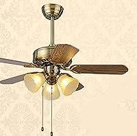 ランプ付きシャンデリア天井ファン寝室ヨーロピアンスタイルの天井ファンファンライト照明ランプ直径107CmMrリモートコントロール付き3つのライトウッド