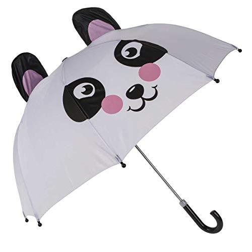 Objektkult Kuppel Regenschirm Panda, mit Pandabär-Gesicht und Ohren Kuppelregenschirm, Weiß, Schwarz, Rosa, Kinderschirm oder für junggebliebene Erwachsene, 70 cm Durchmesser, 58 cm hoch