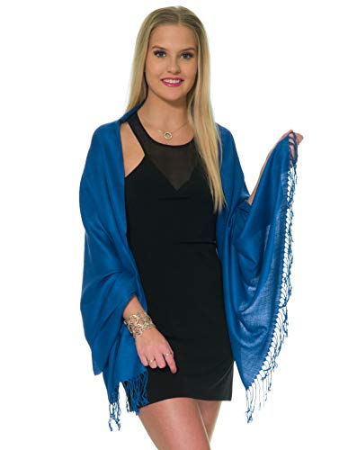 Pashmina Shawls and Wraps for Evening Dresses, Large Soft Pashmina Wedding Light Navy Blue Shawl