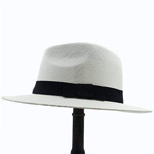 Chlyuan Chlyuan Panama-Fedora-Cap mit breiter Krempe Frauen Sonnenhut für Elegante Dame Gentleman Gangster Trilby Fedora Beach Dad Cap (Farbe : 1, Größe : 56cm-59cm)