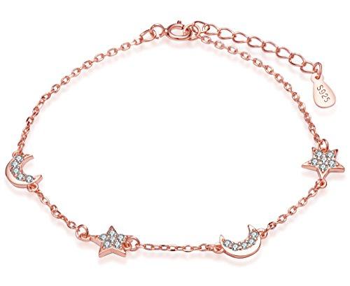 Infinite U - Elegante pulsera de eslabones para mujer de plata de ley 925 con abalorios en forma de...
