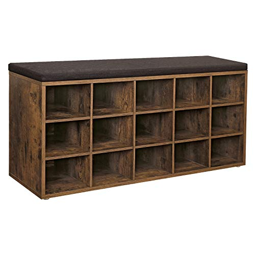 VASAGLE Shoe Bench with Cushion, 15-Cube Storage Bench, Holds up to 440 lb, Rustic Brown ULHS15BX