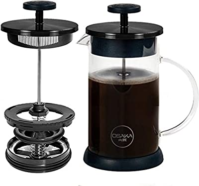 Osaka French Press Coffee and Tea Maker - Patent-Pending, Vacuum Insulated Stainless Steel Mesh Filter with Over-Extraction Prevention & Thermal Shock Proof Glass, Large 8 Cup (1 Liter,34oz) (Black)