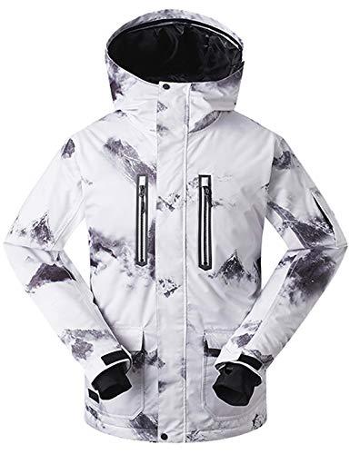 APTRO Skijacke Herren warm Jacke gefüttert Winter Jacke Regenjacke Weiß 1070 S