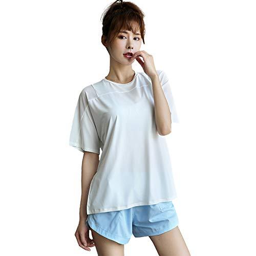 Tシャツ 半袖 ゆったり スポーツシャツ トレーニングウェア ヨガウエア トップス 吸汗速乾 UVカット スポーツ ランニング ヨガ ジム 101 ホワイト 白 M