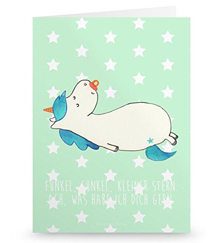 Mr. & Mrs. Panda Grußkarte Einhorn Schnullie - 100% handmade in Norddeutschland - Papier, Unicorn, Pappe, Kleinkind, Schnuller, Einhörner, Gutschein, Grusskarte, Einladung, Karton, Geschenk Geburt, Mama