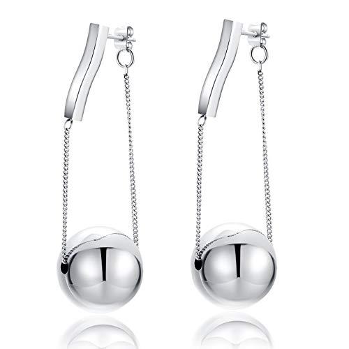 Eleganti orecchini a sfera semplice acciaio titanio non perde orecchini colore moda stile elegante