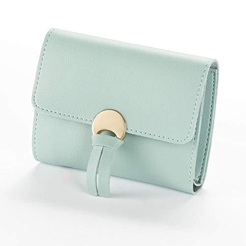 Tangqin FrauenLeder Mini-KartenhalterNette Kreditkarteninhaber Zipper Wallet Case Geldbörse Nubuk New Female Purse-LightGreen