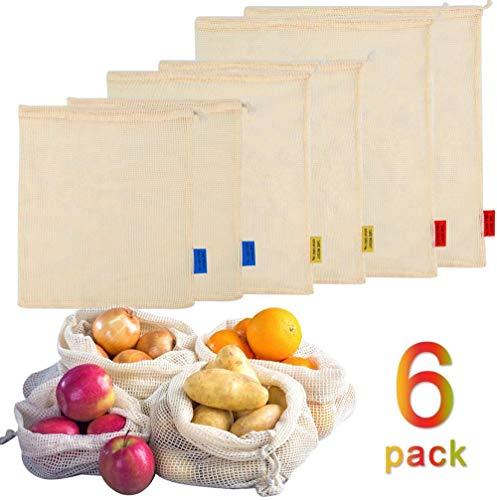 smilecstar EIN Set mit 6 Einkaufstüten aus Bio-Baumwolle, hochwertige biologisch abbaubare Einkaufstaschen-Fotofarbe-A35
