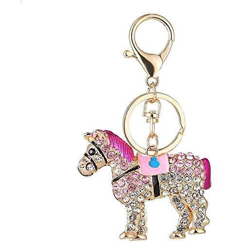 Keyjiang Sleutelhanger met diermotief, paard gevormd, vrouwen, meisjes, sleutelhanger, ring, sieraad, kristal, hanger, sleutelhouder, accessoires Small E