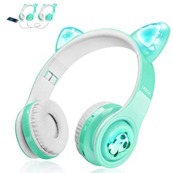 Kids Bluetooth Headphones Cat Ear LED Light Up Wireless Foldable Headphones Over Ear with Mic Music Sharing Function and 85db Limited for iPhone/iPad/Smartphones/Laptop/PC Mint