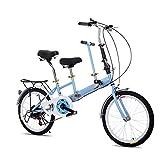 """HYLH Bicicletta Pieghevole in Tandem da 20""""per Bicicletta per Bambini a 2 posti Doppia per Bambini Blu"""