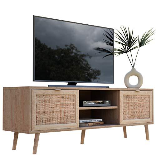 Newfurn TV Lowboard Sonoma Eiche Rattan Optik TV Schrank Modern Skandinavisch - 150x52x40 cm (BxHxT) - Fernsehtisch TV Board Rack Boho - [Mila.Eight] Wohnzimmer