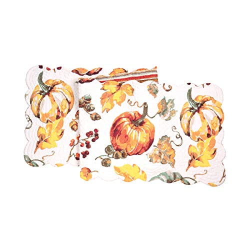 C&F Home Watercolor Pumpkin Table Runner Cotton Table Linen Leaves for Halloween Fall Harvest Table Runner