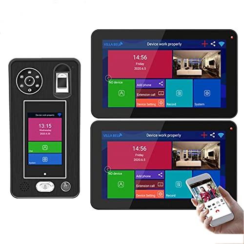 ZCZZ Videoportero inalámbrico WiFi, Videoportero de 9 Pulgadas, Cámara de visión Nocturna 1080P + 2 monitores, Desbloqueo de la aplicación de reconocimiento Facial de Huellas Dactilares
