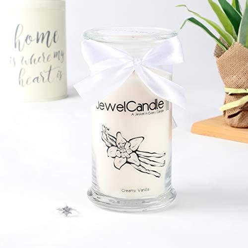 JuwelKerze Creamy Vanilla, große Duftkerze (Vanille, 1020g, 95-125 Std. Brenndauer) in Beige mit 925er Sterling Silber Schmuck, Ohrringe