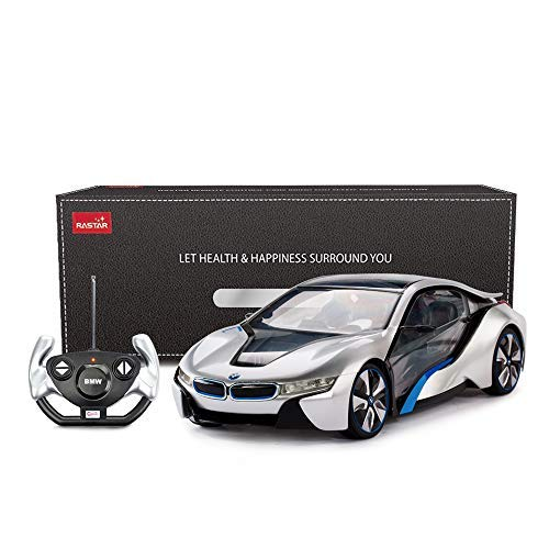 rastar BMW i8RC Auto Maßstab 1: 14BMW i8Concept Fernbedienung Modell Auto, vollständig transparent mit auffälligen Details und innen Lampe–Silber