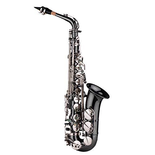 Walmeck Professionelle Messing Bend-Eb-Dur Alt-Saxophon Sax Black Nickel Plating Abalone Shell Keys mit Tragetasche Handschuhe Reinigungstuch Straps Fettbürste